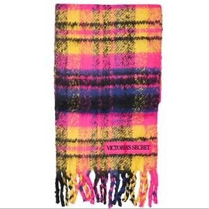 NEW Victorias Secret Plaid Plush Multi-Color Scarf